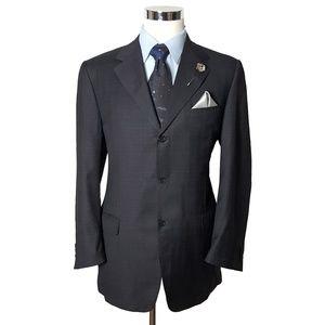 Canali Mens Plaid Wool 3 Button Blazer 44L Gray